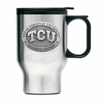 Texas Christian Horned Frogs Travel Mug with Handle & Pewter Accent