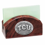 Texas Christian Horned Frogs Wood Business Card Holder with Pewter