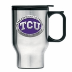 Texas Christian Purple Travel Mug with Handle & Pewter Accent