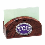 Texas Christian Purple Wood Business Card Holder with Pewter Accent