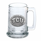 Texas Christian University Horned Frogs Pewter Accent Glass Beer Mug