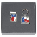 Texas Flag Money Clip & Key Chain Gift Set with Pewter Accents