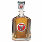 Texas Tech Red Raiders Red Capitol Glass Decanter with Pewter Accents