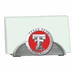 Texas Tech Red Raiders Red Metal Business Card Holder w/ Pewter Accent