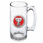 Texas Tech Red Raiders Red Pewter Accent Glass Super Beer Mug
