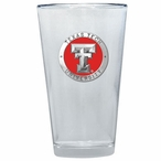 Texas Tech Red Raiders Red Pewter Accent Pint Beer Glasses, Set of 2