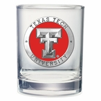 Texas Tech Red Raiders Red Pewter Double Old Fashion Glasses, Set of 2
