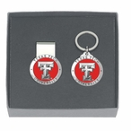Texas Tech Red Raiders Red Pewter Money Clip & Key Chain Gift Set