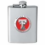 Texas Tech Red Raiders Red Stainless Steel Flask with Pewter Accent