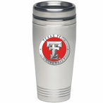 Texas Tech Red Raiders Red Stainless Steel Travel Mug w/ Pewter Accent