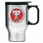 Texas Tech Red Raiders Red Travel Mug with Handle & Pewter Accent