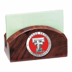 Texas Tech Red Raiders Red Wood Business Card Holder w/ Pewter Accent