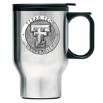Texas Tech Red Raiders Stainless Steel Travel Mug with Handle & Pewter