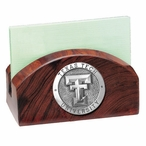 Texas Tech Red Raiders Wood Business Card Holder with Pewter Accent