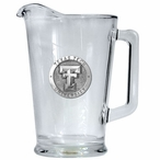 Texas Tech University Red Raiders Glass Pitcher with Pewter Accent