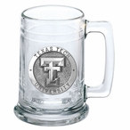 Texas Tech University Red Raiders Pewter Accent Glass Beer Mug