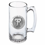 Texas Tech University Red Raiders Pewter Accent Glass Super Beer Mug