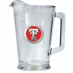 Texas Tech University Red Raiders Red Glass Pitcher with Pewter Accent