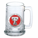 Texas Tech University Red Raiders Red Pewter Accent Glass Beer Mug