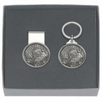 Turkey Money Clip & Key Chain Gift Set with Pewter Accents