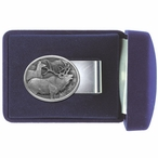 Two Elk Steel Money Clip with Pewter Accent