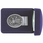 Two Whitetail Deer Steel Money Clip with Pewter Accent