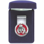 U.S. Marine Corps Bulldog Red Steel Money Clip with Pewter Accent