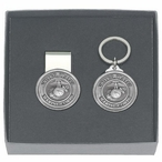 U.S. Marine Corps Money Clip & Key Chain Gift Set with Pewter Accents