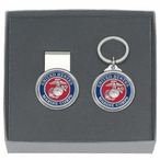 U.S. Marine Corps Red Money Clip & Key Chain Pewter Gift Set