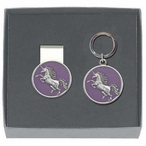 Unicorn Purple Money Clip & Key Chain Gift Set with Pewter Accents