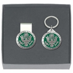 United States Army Green Money Clip & Key Chain Pewter Gift Set
