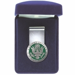 United States Army Green Steel Money Clip with Pewter Accent