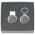 United States Army Money Clip & Key Chain Gift Set with Pewter Accents