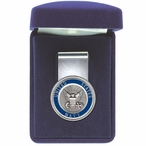 United States Navy Blue Steel Money Clip with Pewter Accent