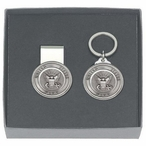 United States Navy Money Clip & Key Chain Gift Set with Pewter Accents