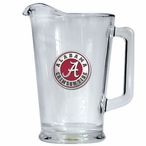 University of Alabama Crimson Tide Red Glass Pitcher w/ Pewter Accent