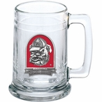University of Georgia Bulldogs Dog Red Pewter Accent Glass Beer Mug