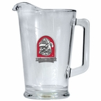 University of Georgia Bulldogs Red Dog Glass Pitcher w/ Pewter Accent