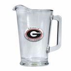 University of Georgia Bulldogs Red Glass Pitcher with Pewter Accent
