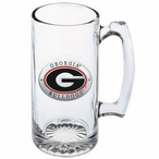 University of Georgia Bulldogs Red Pewter Accent Glass Super Beer Mug
