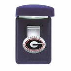 University of Georgia Bulldogs Red Pewter Accent Steel Money Clip