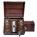 University of Georgia Bulldogs Red Pewter Accent Wine Chest Set