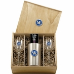 University of Kentucky Wildcats Logo Blue Pewter Accent Wine Box Set