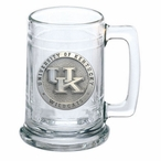 University of Kentucky Wildcats Logo Pewter Accent Glass Beer Mug