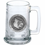 University of Louisville Cardinals Pewter Accent Glass Beer Mug