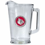 University of Louisville Cardinals Red Glass Pitcher w/ Pewter Accent