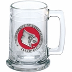 University of Louisville Cardinals Red Pewter Accent Glass Beer Mug