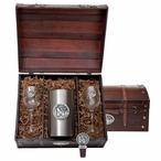 University of Memphis Tigers Pewter Accent Wine Chest Set