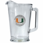 University of Miami Hurricanes Orange Glass Pitcher with Pewter Accent