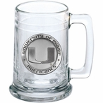 University of Miami Hurricanes Pewter Accent Glass Beer Mug
